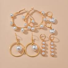 4pairs Faux Pearl Decor Earrings