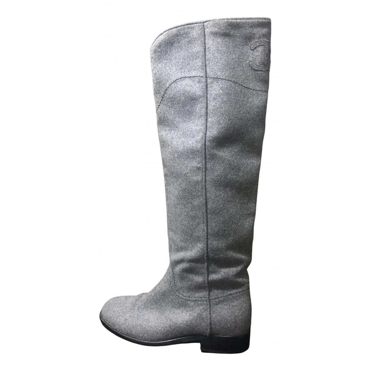 Chanel \N Stiefel in  Grau Leinen