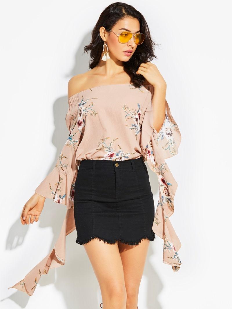Ericdress Off Shoulder Flower Print Flare Sleeve Women's Blouse