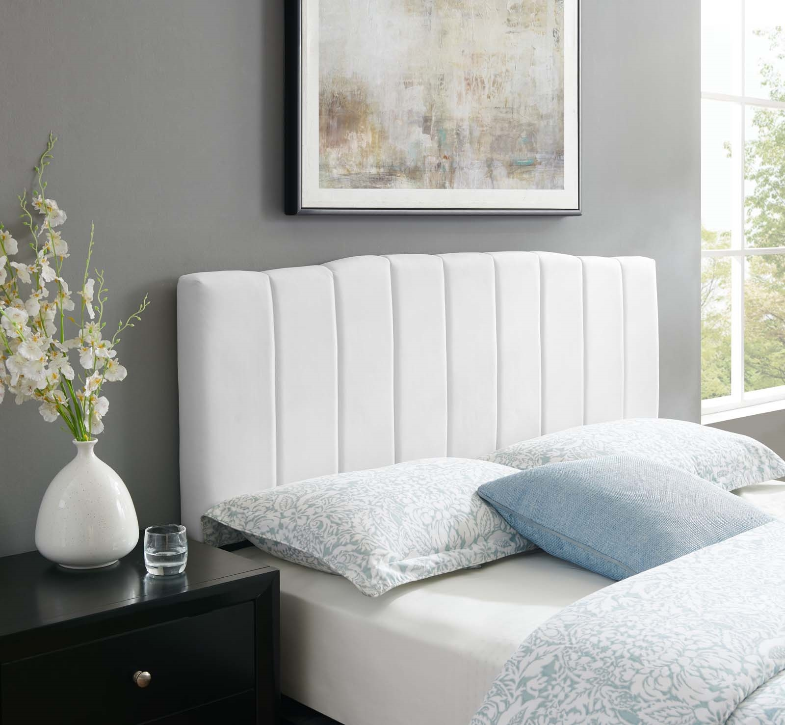Camilla Channel Tufted King/California King Performance Velvet Headboard in White