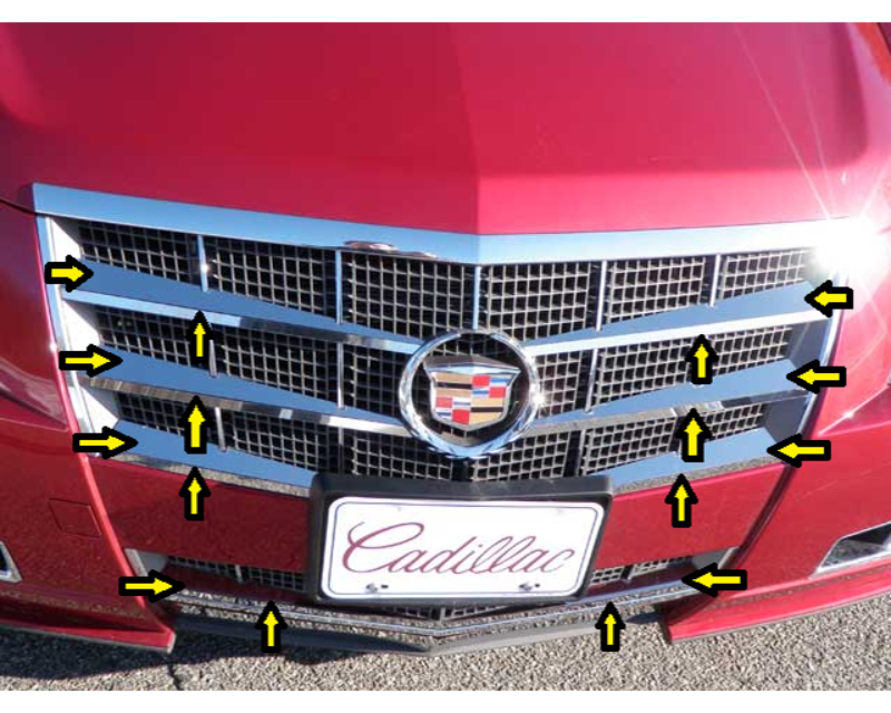 QAA Stainless Steel Grille Accent 16Pc Cadillac CTS Sport Wagon