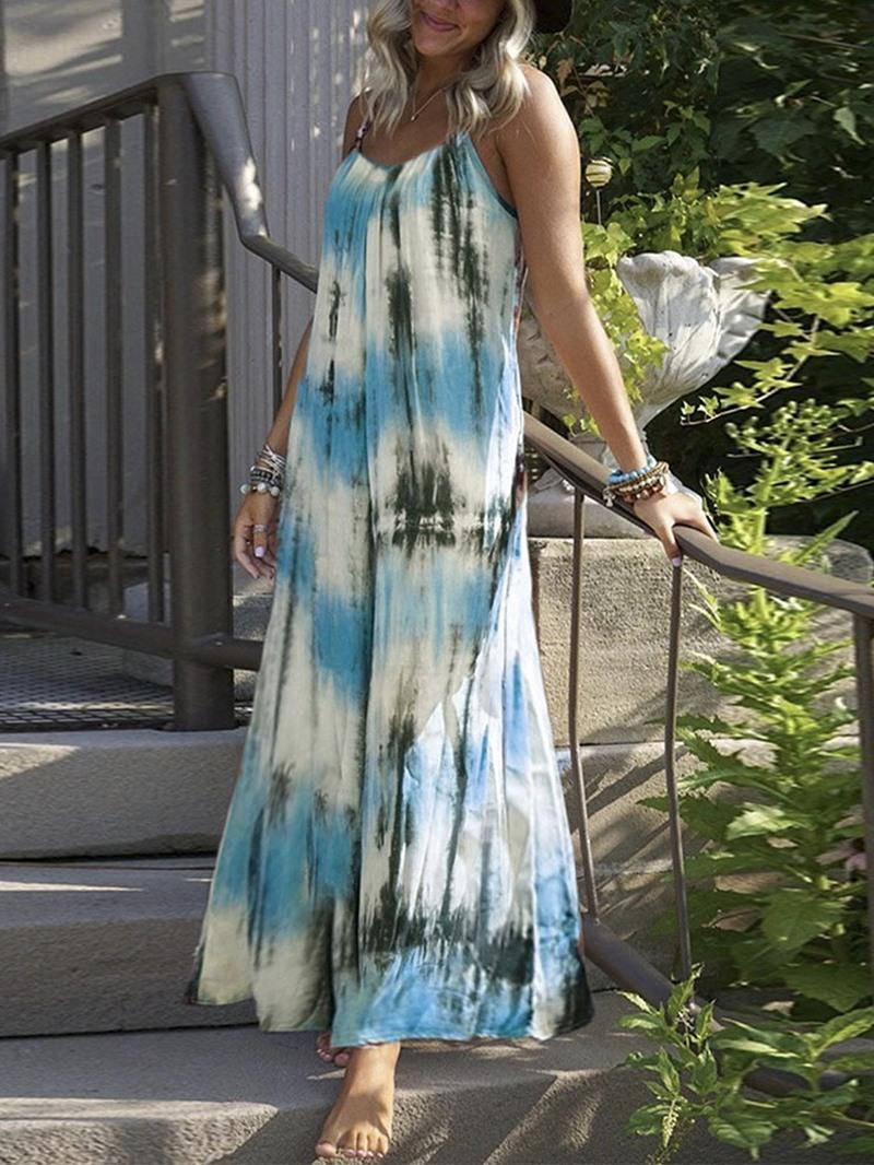 Ericdress Ankle-Length Tie-Dye Sleeveless Spaghetti Strap High Waist Dress