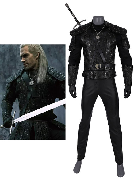 Milanoo The Witcher Cosplay Geralt of Rivia Black Leather Outfit Full Set Costume