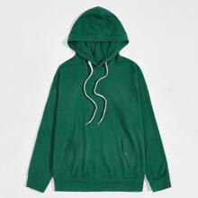 Men Drop Shoulder Drawstring Hoodie