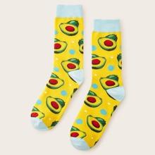 Maenner Socken mit Avocado Muster 1 Paar