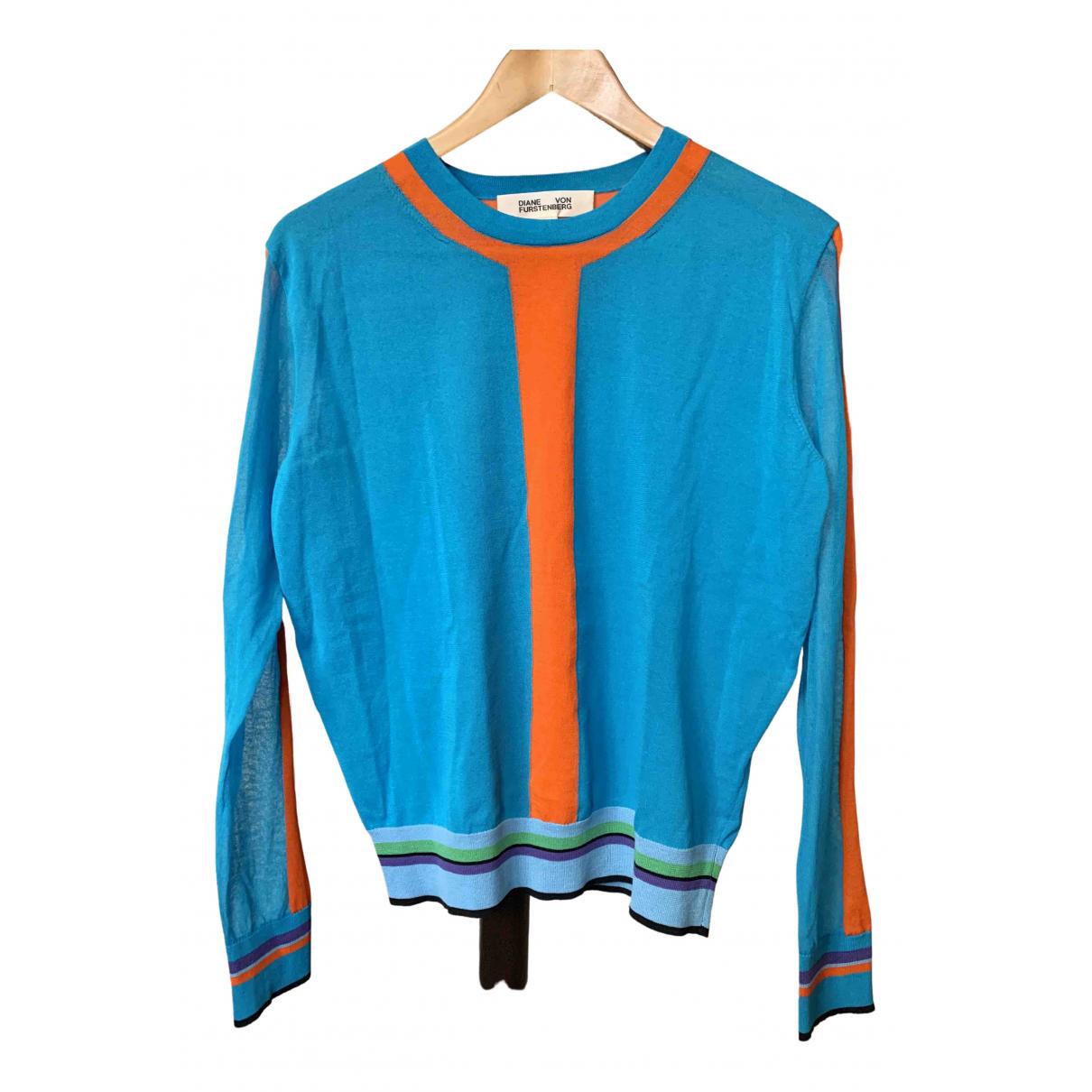 Diane Von Furstenberg - Pull   pour femme en coton - bleu