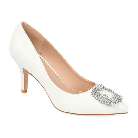 Journee Collection Womens Izzie Pumps Stiletto Heel, 10 Medium, White