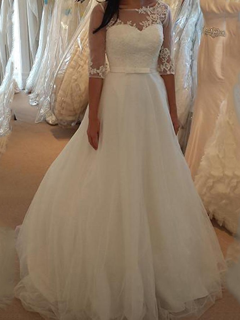 Ericdress Half Sleeves Appliques Outdoor Wedding Dress