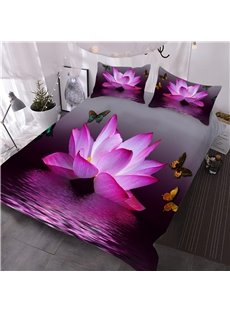 Pink Lotus and Butterfly 3D Lightweight Comforter 3 Pieces Microfiber No-Fading Comforter Set with 2 Pillowcases