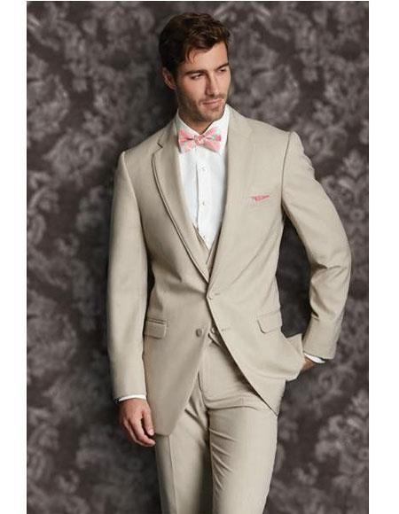 Mens Tan 2 Button Single Breasted Vest Notch Lapel Suit