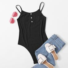 Black Button Cami Bodysuit