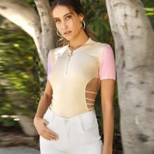 Zipper Half Placket Crisscross Backless Colorblock Sleeve Top