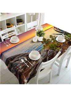 Elegant Sunset Seaside Scenery Prints Washable Dining Room Decoration 3D Tablecloth