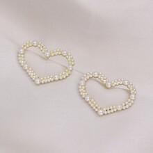 Faux Pearl Heart Stud Earrings
