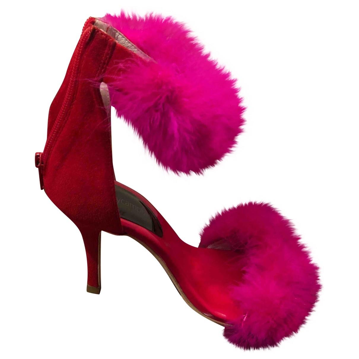 Jeffrey Campbell - Sandales   pour femme en fourrure synthetique - rose