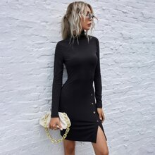 Mock Neck Button Front Solid Dress