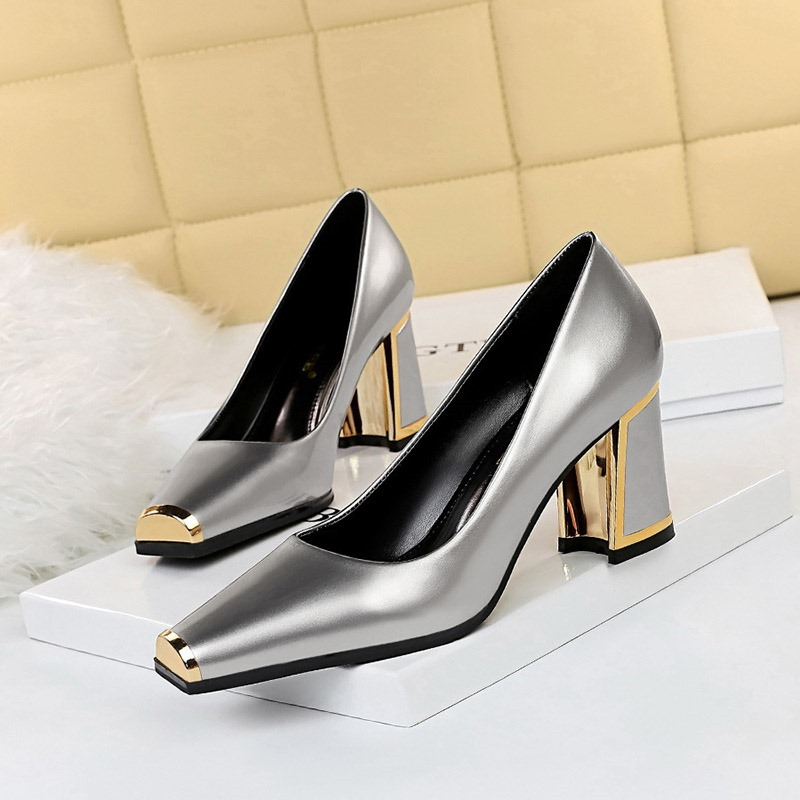 Ericdress Slip-On Chunky Heel Square Toe Low-Cut Upper Thin Shoes