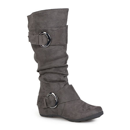 Journee Collection Womens Jester Wide Calf Slouch Boots, 8 Medium, Gray