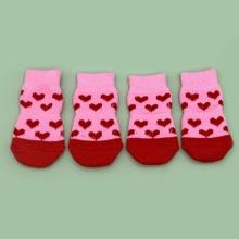 4 Stuecke Hund Socken mit Herzen Muster