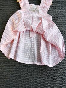 Toddler Girls Embroidery Gingham Cami Top & Shorts
