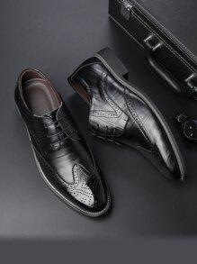 Men Wingtip Detail Lace-up Front Dress Shoes