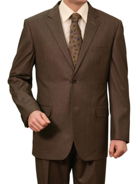 2 Button Brown Pin Stripe Front Closure Notch Lapel Suit Mens Cheap