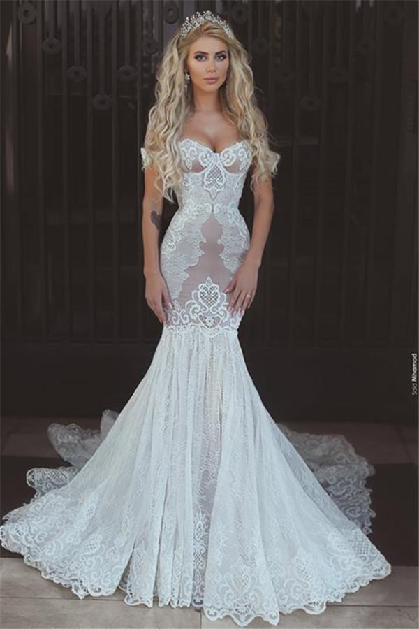 Vestidos de novia de encaje de sirena sexy fuera del hombro Vestidos de novia de espalda abierta BA7275