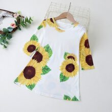 Toddler Girls Sunflower Print Tee Dress