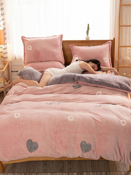 Milanoo Flannel Bedding 4-Piece Set Chic Printed Flannel Colorful Bedroom Sets