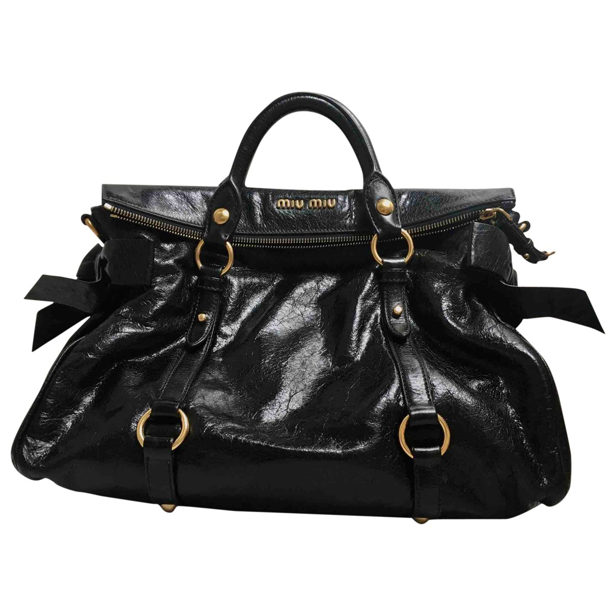 Miu Miu Bow bag Black Leather handbag for Women \N