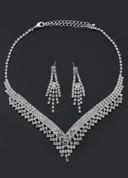 Milanoo Wedding Jewelry Sets Bridal Silver Rhinestone Necklace And Earrings