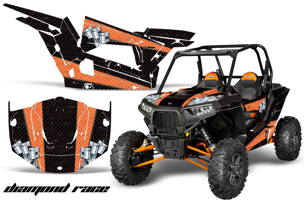 AMR Racing  Full Custom UTV Graphics Decal Kit Wrap Diamond Race Orange Polaris RZR 1000 13-18