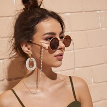 Faux Pearl Beaded Metal Glasses Chain