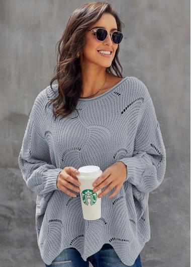 Trendy Round Neck Pointelle Trim Batwing Sleeve Sweater - S