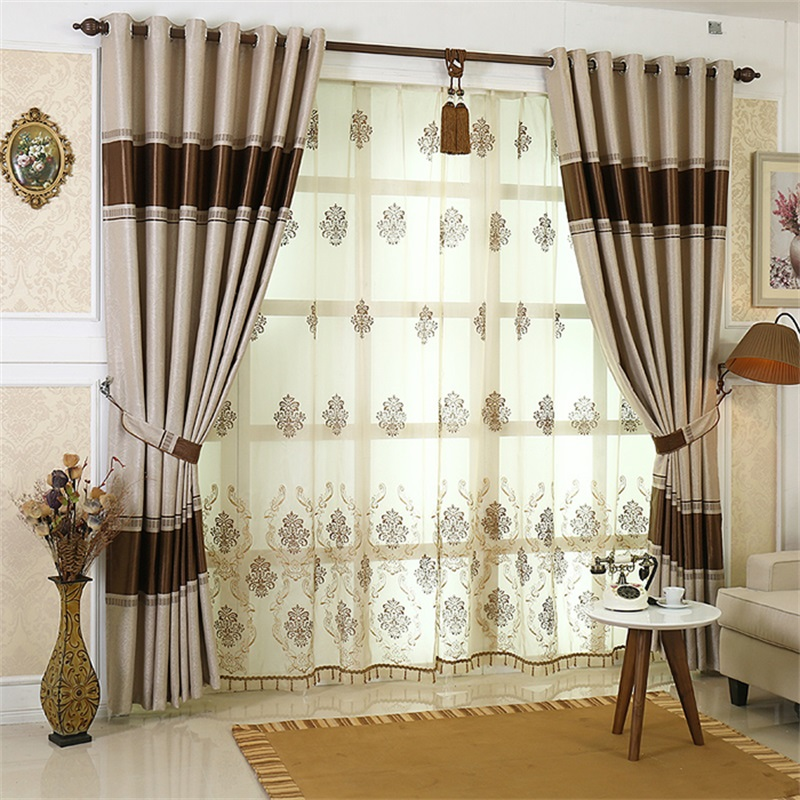 Warm Color and Dust-Proof Polyester Solid Grommet Top Blackout Curtain Drapes