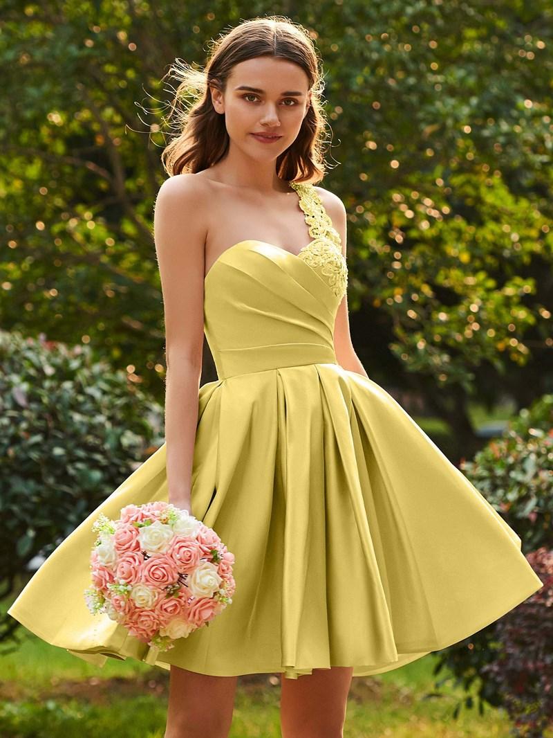 Ericdress Matte Satin A Line Pink Knee Length Bridesmaid Dress