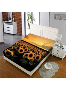 Sunflowers In The Sunset Reactive Printing 1-Piece Polyester Bed Cover / Mattress Cover