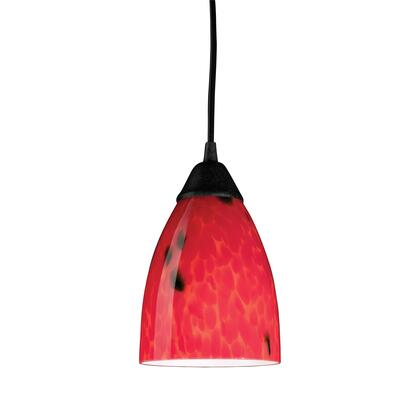 406-1FR-LED 1 Light Pendant in Dark Rust and Fire Red Glass -