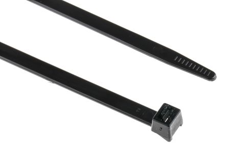 HellermannTyton , RLT120 Series Black Nylon Releasable Cable Tie, 340mm x 7.6 mm