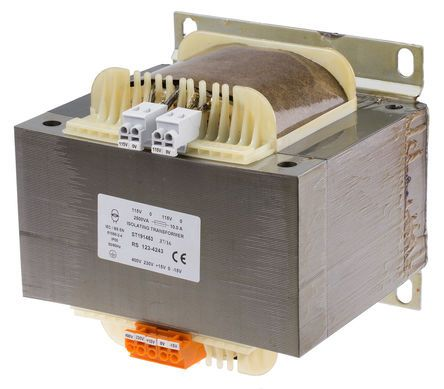 RS PRO 2500VA Isolation Transformer, 15 → 400V ac Primary, 115V ac Secondary