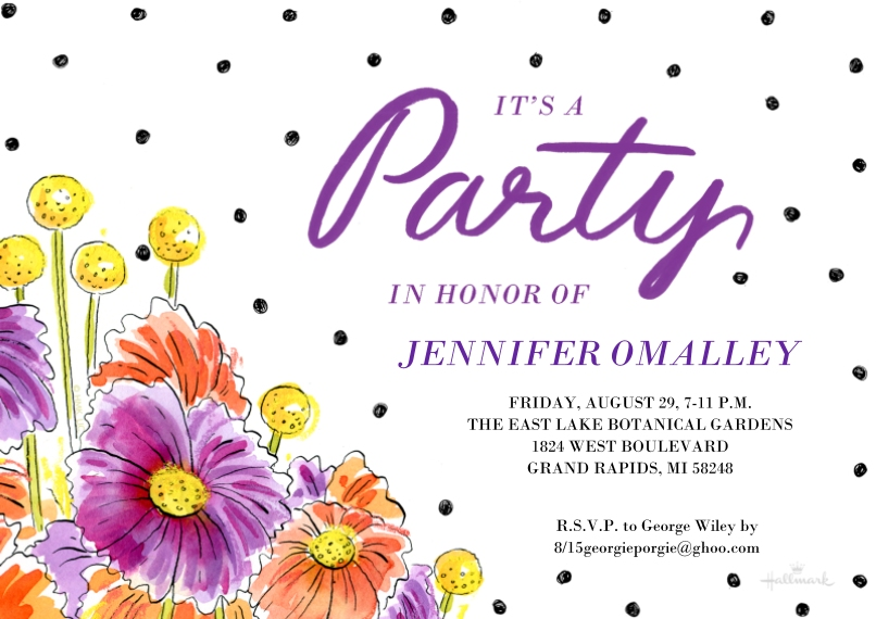 Birthday Party Invites 5x7 Cards, Premium Cardstock 120lb, Card & Stationery -Floral and Dots Party