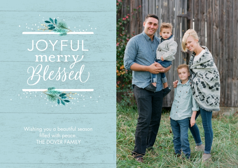 Christmas Photo Cards 5x7 Cards, Premium Cardstock 120lb with Rounded Corners, Card & Stationery -Rustic Joyful, Merry, Blessed by Hallmark