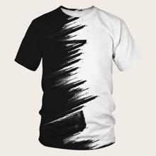Camiseta de hombres de color combinado con pincelada