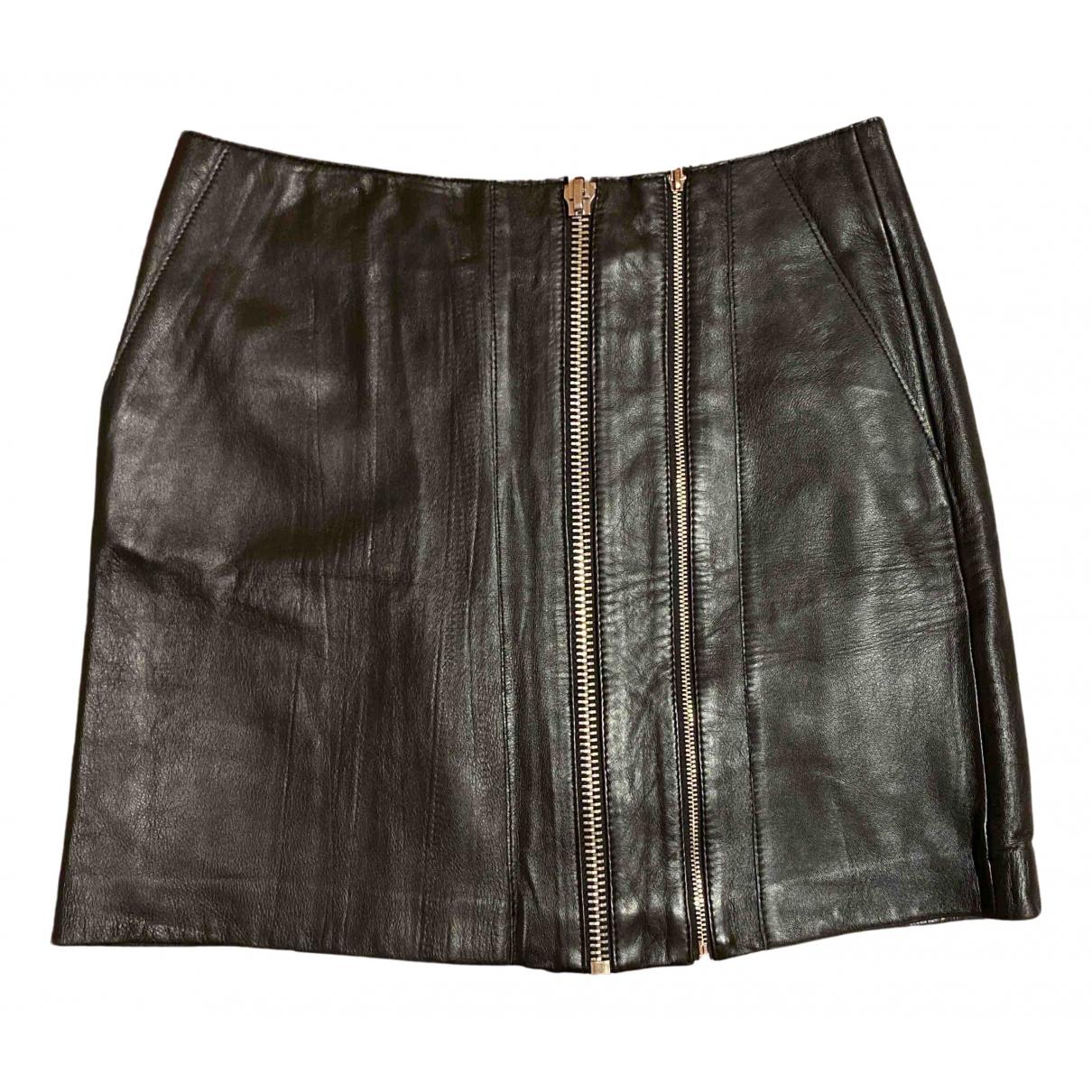 Maje N Black Leather skirt for Women 38 FR