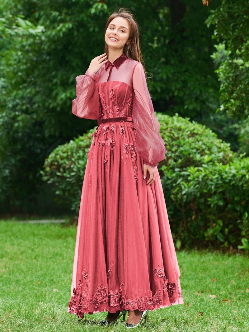 Ericdress A Line High Neck Applique Vintage Prom Dress