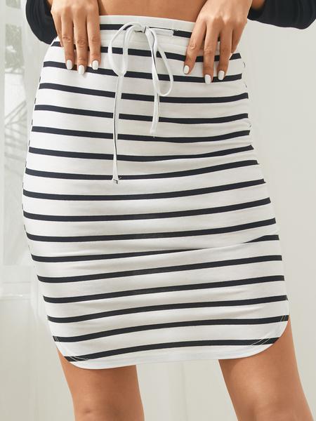 Yoins White Striped Drawstring Waisted Mini Skirt