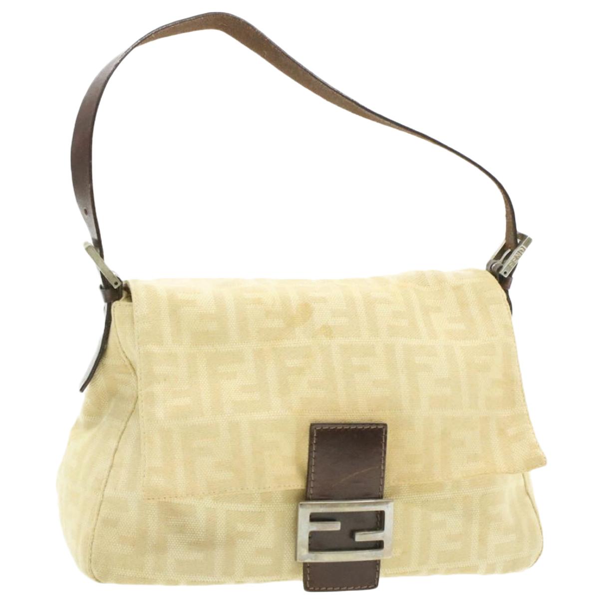 Fendi Mamma Baguette  Handtasche in  Beige Leinen