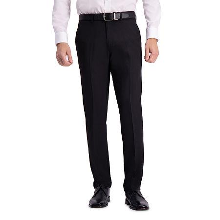 Haggar Active Series Straight Fit Flat Front Dress Pant, 34 29, Black