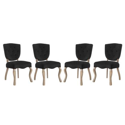 Array Collection EEI-3382-BLK Dining Side Chairs with Dense Foam Padding  Button Tufted Seat Back  Non-Marking Foot Caps  Weathered Wood Saber Legs