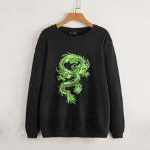 Pullover mit chinesischer Drache Grafik und sehr tief angesetzter Schulterpartie